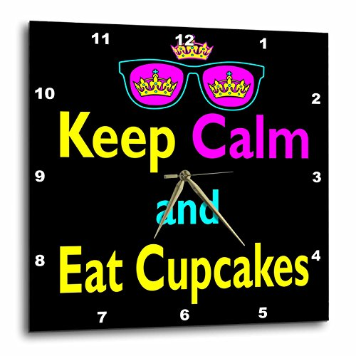 Dooni Designs CMYK Hipster Designs - CMYK Keep Calm Parody Hipster Crown And Sunglasses Keep Calm And Eat Cupcakes - 13x13 Wall Clock (dpp_116638_2)
