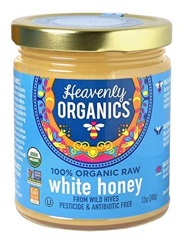 Heavenly Organics 100% Organic Raw White Honey (12oz) Lightly Filtered to Preserve Vitamins, Minerals and Enzymes; Made from Wild Beehives & Free Range Bees; Dairy, Nut, Gluten Free, Kosher