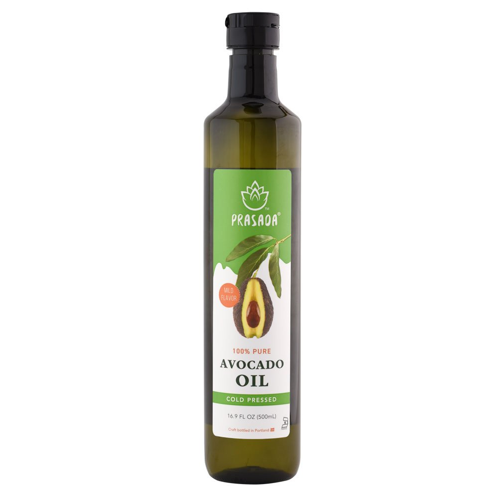 Prasada 100% Pure Avocado Oil (500ml) -Refined, Cold Pressed, BPA-Free Food-Grade Plastic Bottle | Excellent for Frying, Sautéing, Salads and Cosmetic Uses