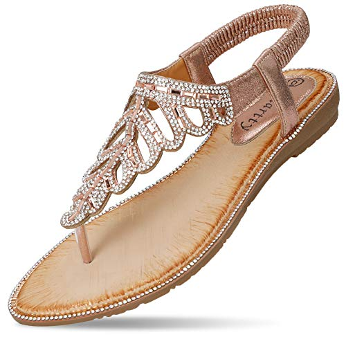 CARETOO Ladies Flat Sandals Shoes, Women Fashion T Strap Summer Flip Flops Sandal, Rhinestone Bling Backstrap Beach - Sandal Jeweled Pink