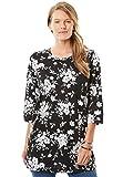 Women's Plus Size Three-Quarter Sleeve Perfect Print Tunic Black Bouquet,2X