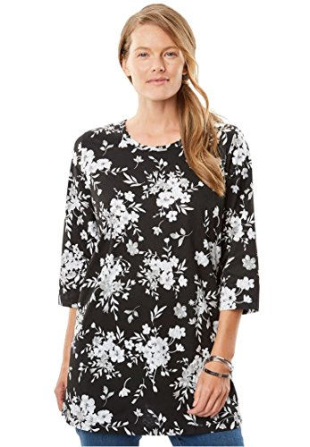 Women's Plus Size Perfect Printed Three-Quarter Sleeve Tunic