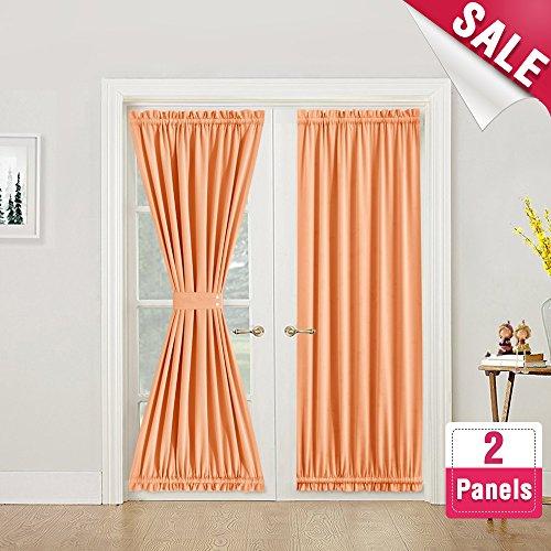 French Door Curtain Panels 2 Pieces Room Darkening Thermal Insulated French Door Curtains 72 Inches Long with Bonus Tieback for Glass Door, Orange - Orange Block Rug