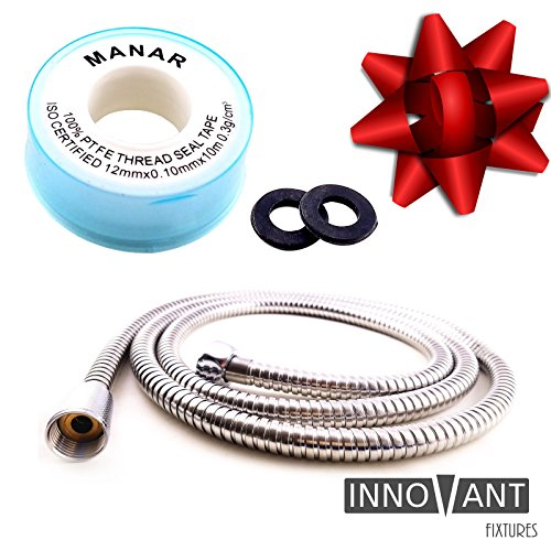 INNOVANT Extra Long Stainless Steel Shower Hose Best for cleaning pets flexible handheld shower head extension replacement length 6.5 feet 79 inches 2 meters Durable construction metal does not kink