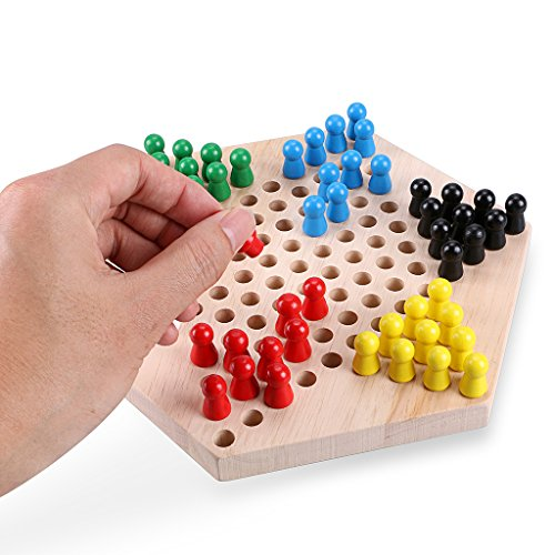 """Sumnacon Wood Chinese Checkers Game with Wooden Marbles - Cultivate Thinking Ability, Stimulate Potential and Enhance Cooperation Skills Game-9"""" Hexagon Board Games, Superb Family Game/Kids Gift"""