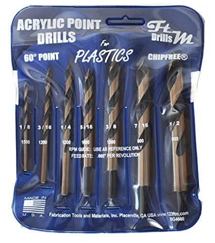 - Drill Bits for Plastic (acrylic, plexiglass, ABS, lexan, polycarbonate, pvc) Norseman 7pc Acrylic Point Drill Set in Vinyl Pouch. Includes 1/8