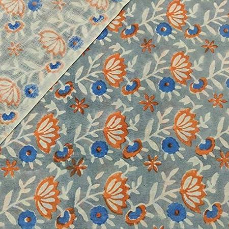 Tela de algodón estampada en bloque Tela india impresa a mano, tela de algodón suave de The Yard Fabric, tela estampada Jaipuri Kurti para el vestido de verano (2.5 yards): Amazon.es: Hogar