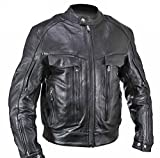 Xelement B4495 Bandit Mens Black Buffalo Leather Cruiser Motorcycle Jacket - Small