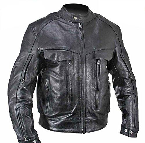 (Xelement B4495 Bandit Mens Black Buffalo Leather Cruiser Motorcycle Jacket - Medium)