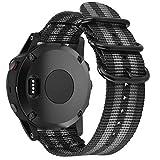 Azadodo NATO Nylon Bands Compatible Fenix Outdoor Watch Bands Garmin Fenix 2 (Black Gray)
