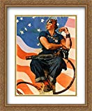 Norman Rockwell 2x Matted 28x34 Gold Ornate Large Framed Art Print 'Rosie The Riveter'