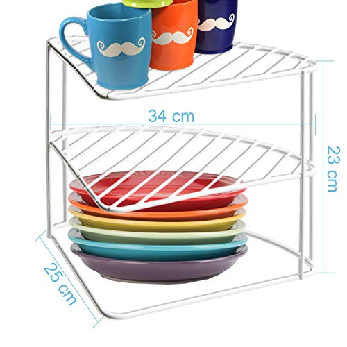 3 Tier White Corner Kitchen Plate Rack Cupboard Shelf Insert Tidy Organiser