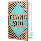 Thank You Card: Real Bamboo Wood Greeting Card With Modern Thank You Design, Premium Handmade Wooden Card Perfect Way To Say Thank You, Or When You Need A Card That Says Thanks