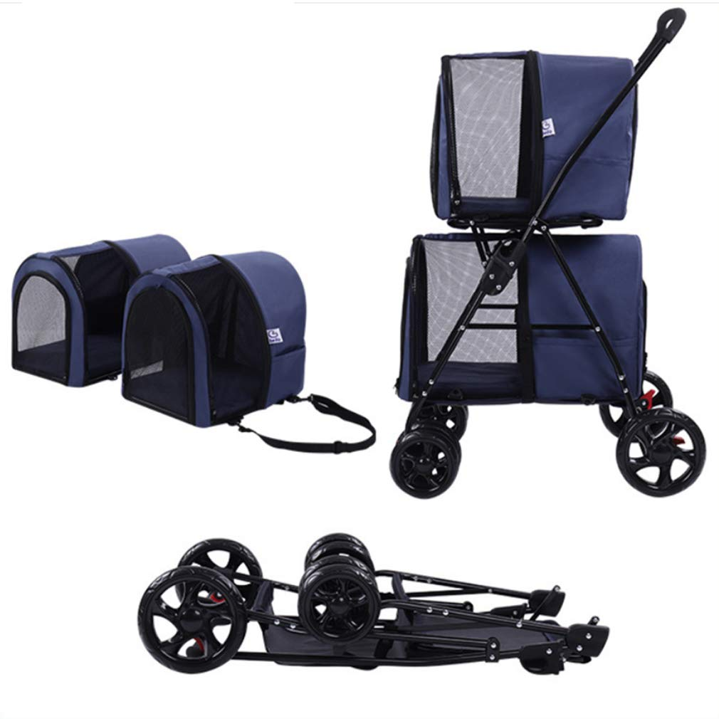 bluee Pet Stroller for Cats Dogs,Foldable, Two-Way Ventilation Foldable Traveling Carrier with Storage Space for Dogs,Cats and Other Pets,bluee