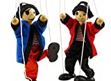 SPARIK ENJOY 2 Packs Clown Pirate Hand Marionette Puppet Children's Wooden Marionette Toys Colorful Marionette Puppet Doll Parent-Child Interactive Toys-Blue and Red Pirate