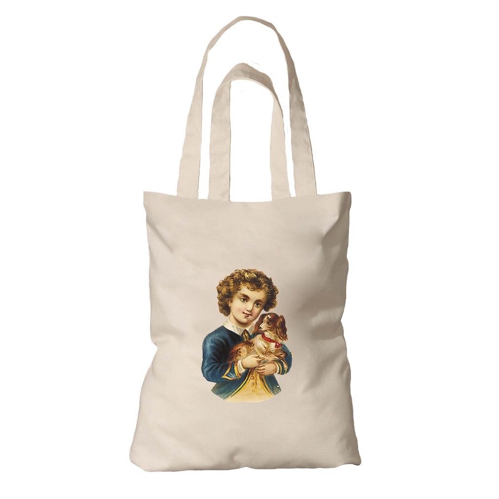 Tote Bag Organic Canvas Boy In Navy Jacket With Puppy Animals By Style In Print by Style in Print
