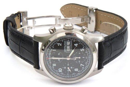 Cuero 20mm Classic Negro Cocodrilo grano Reloj Correa Para Relojes Hamilton: Amazon.es: Relojes