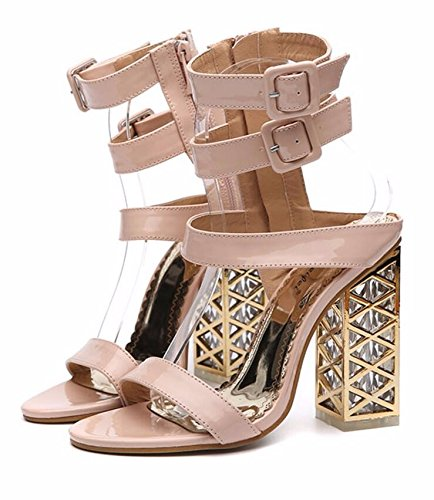 Thick color Heel Thick Toes Female 12Cm KPHY Buckle Super Apricot Belt Bottom Fashion High Sandals Heel xUxqZYfzw