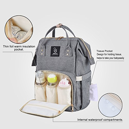 Athelain Diaper Bag,Multi-Function Waterproof Travel Backpack Nappy Bags for Baby Care, Large Capacity, Stylish and Durable (Gray) by Athelain (Image #2)
