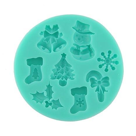 Molde de silicona para fondant con diseños navideños (árbol de Navidad, calcetín, muñeco