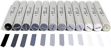 Doble Puntas Cool gris arte marcadores, escala de grises ...
