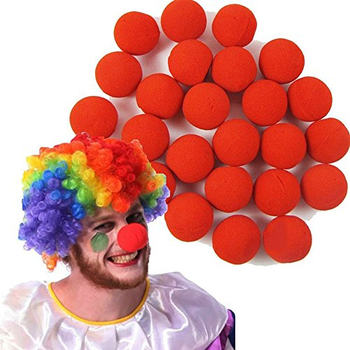 Dealglad 100 Pcs/Lot Novelty Sponge Ball Red Clown Magic Nose for Halloween Party Masquerade Costume Ball -