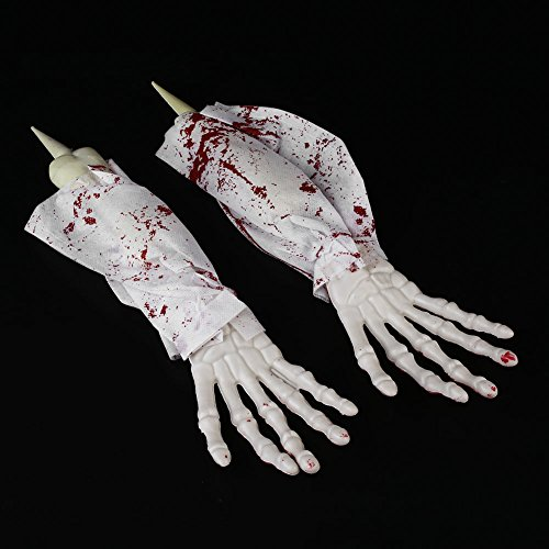 (monque Halloween Skeleton Hands Party Decoration Scary Haunted Spooky Make Up Horrible Costume)