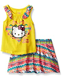 Hello Kitty girls Sleevless Skirt Set With Bow Appliques