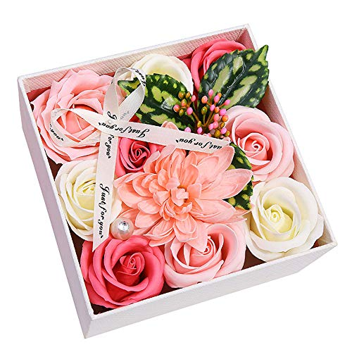 (AESTHING Bath Soap Rose Flower,Flora Scented Rose Petal Bouquet Gift Box Party Favors Wedding Anniversary Birthday Mother's Day Christmas Valentine's Gift (Pink))