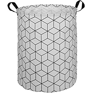 HUAYEE 19.6Inches Large Laundry Basket Waterproof Round Cotton Linen Collapsible Storage bin with Handles for Hamper Kids Room,Toy Storage(Square)