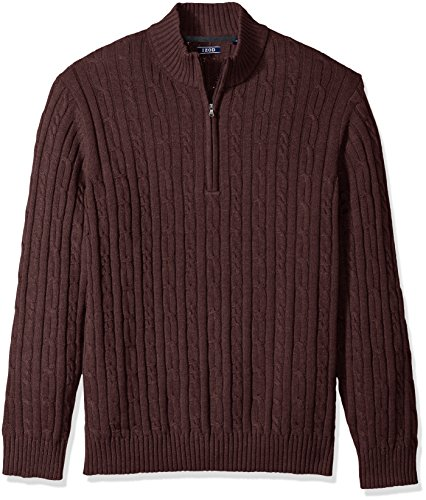 (IZOD Men's Cable Solid 1/4 Zip Sweater, Fig, Large)