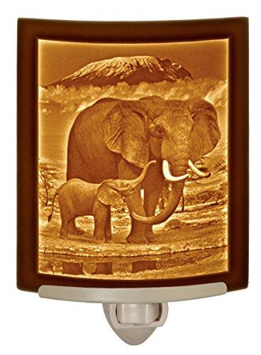 Elephant and Calf- fine Porcelain Curved Lithophane Night Light. - Light Night Lithophane