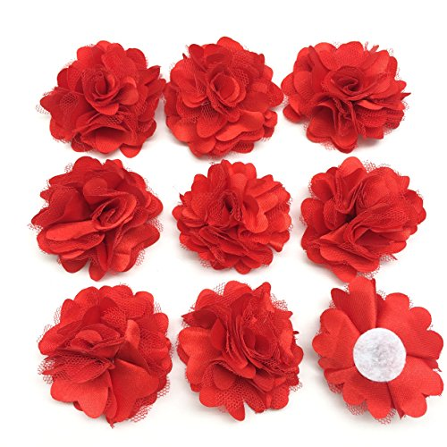 PEPPERLONELY 10PC Set Red Lace Chiffon Peony Fabric Flowers, 2 Inch