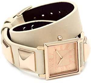 Vince Camuto Women's VC/5028RGIV Square Rosegold-Tone Ivory Leather Double-Wrap Strap Watch