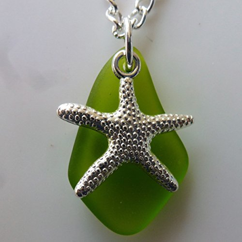 Green sea glass ocean necklace for girls and women on a 24 silver color chain with nautical starfish delicate elegant young beach prime handmade seag…