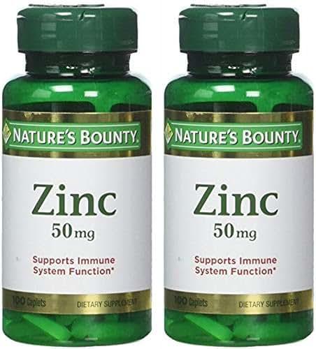 Nature's Bounty Zinc 50 mg Caplets 100 ea (Pack of 2)