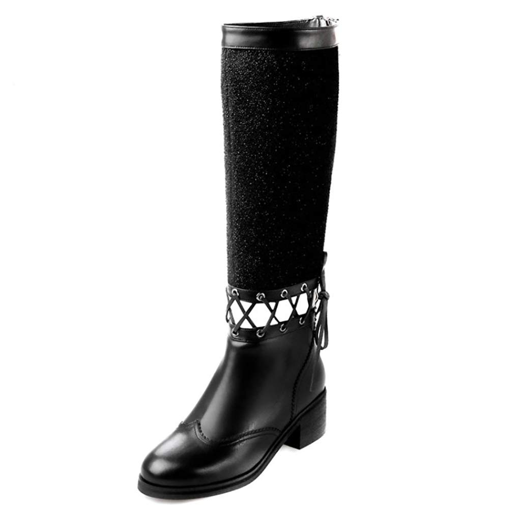 Damen-Casual-Stiefel Leder Herbst Winter Reitstiefel Ladies Fashion Hollow-Out-Spitzen-High-Stiefel Reitstiefel Büro Büro Büro & Karriere Party & Abend,A,35 365e50
