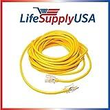 LifeSupplyUSA 50ft 1 PK Heavy Duty 3 Prong Oil Resistant Light End Indoor/Outdoor 12/3 SJTW 15 Amp 300 Volt 1875 Watt Extension Cord