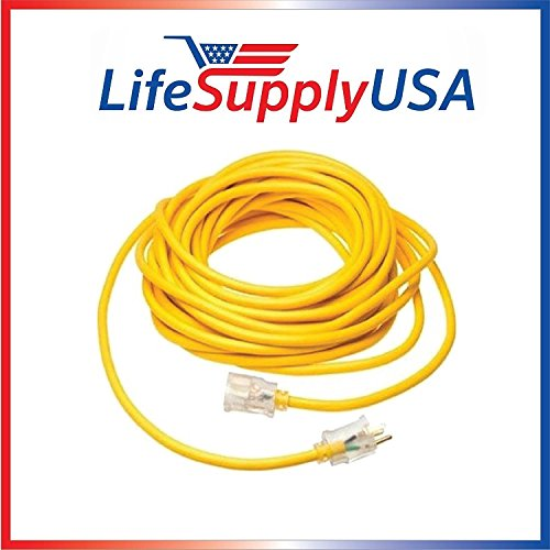 LifeSupplyUSA 12/3 300V SJT Extension Cord LED Lighted End Prong for Indoor + Outdoor use