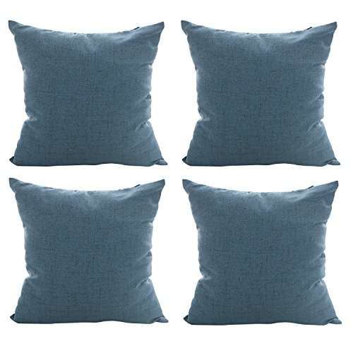 deconovo kids pillowcases blue toss throw cushion cover faux linen look pillow case for decoration 18 x 18 inch indigo blue 4 pcs no pillow insert