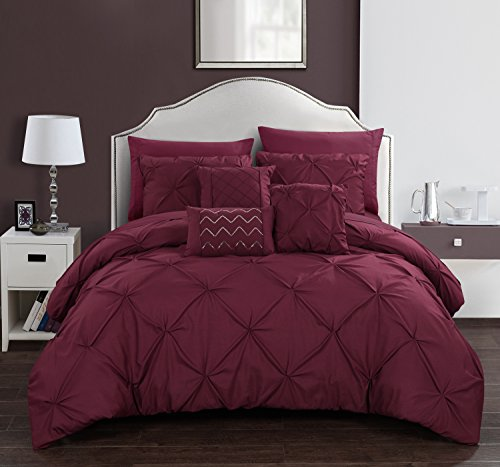 Chic Home Hannah 10 Piece Comforter Complete Bag Pinch Pleated Ruffled Pintuck Bedding with Sheet Set and Decorative Pillows Shams Included, Queen, Burgundy