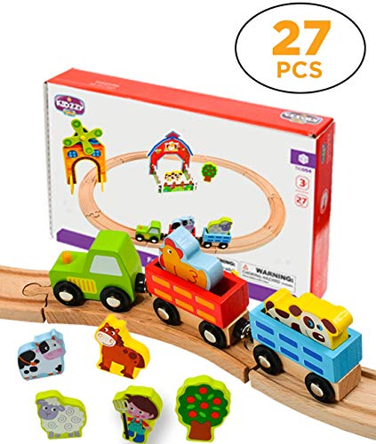 (Kidzzy Toys 27 Pieces Wooden Train Set, Toy Set with Farm Yard, Double Sided Tracks Great for Kids Age 2 - 3 -4 and up, Compatible with All Major Brands of Magnetic Trains)