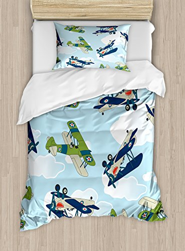 Airplane Decor Duvet Cover Set by Ambesonne, Vintage Allied Plane Flying Pattern Cartoon Children Kids Repeating Toys shark Teeth, 2 Piece Bedding Set with 1 Pillow Sham, Twin / Twin XL Size