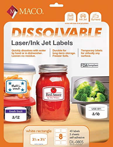 MACO Laser/Ink Jet White Dissolvable Rectangular Labels, 2-1/3 x 3-3/8 Inches, 8 Per Sheet, 40 Per Pack ()