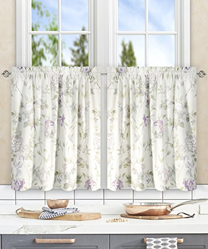 (Simple Comfort Abigail Traditional Hydrangea Floral Print (Tailored Tier Curtains, 56 x 24, Lilac) )