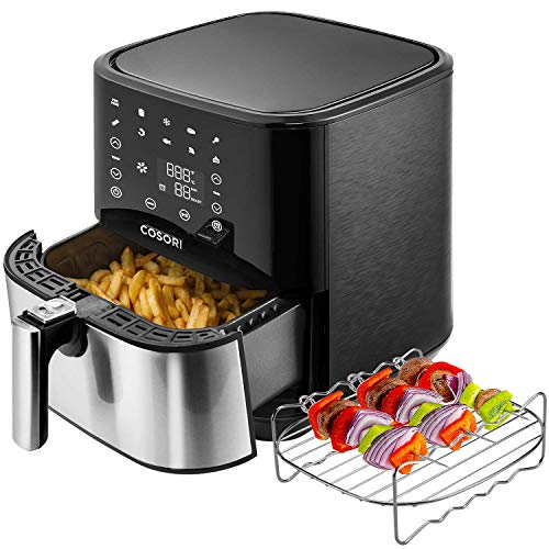 COSORI Stainless Steel Air Fryer 100 Recipes, Rack, 5 Skewers , 5.8Qt Large Air Fryers XL Oven Oilless Cooker, Preheat Alarm, 9 Presets, Nonstick Basket, 2-Yr Warranty, ETL UL Listed Renewed