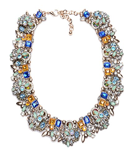 SEKAISORA Vintage Style Art Deco Statement Necklace Austria Crystal Collar Bib Necklace Blue