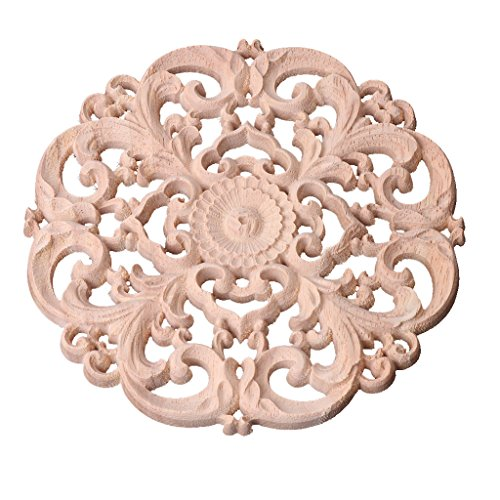 Decal Medallion - Misright Wood Carved Corner Onlay Applique Frame Decoration Furniture Unpainted Decal
