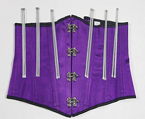 ZAMME Desgaste de acero para mujer Steampunk Underbust Corset Bustier cintura Cincher Bodyshaper Morado