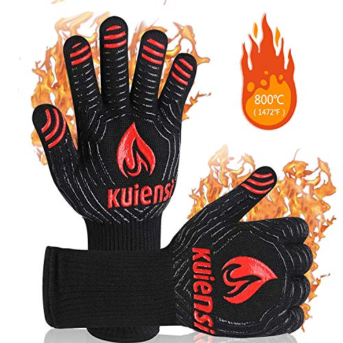 KUIENSI BBQ Gloves,1472°F Extreme Heat Resistant Grill